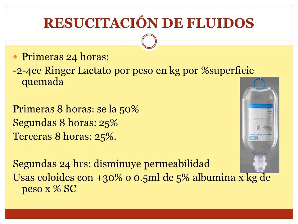 RESUCITACIÓN DE FLUIDOS Primeras 24 horas: -2-4cc Ringer Lactato por peso en kg por %superficie quemada Primeras 8 horas: se la 50% Segundas 8 horas: