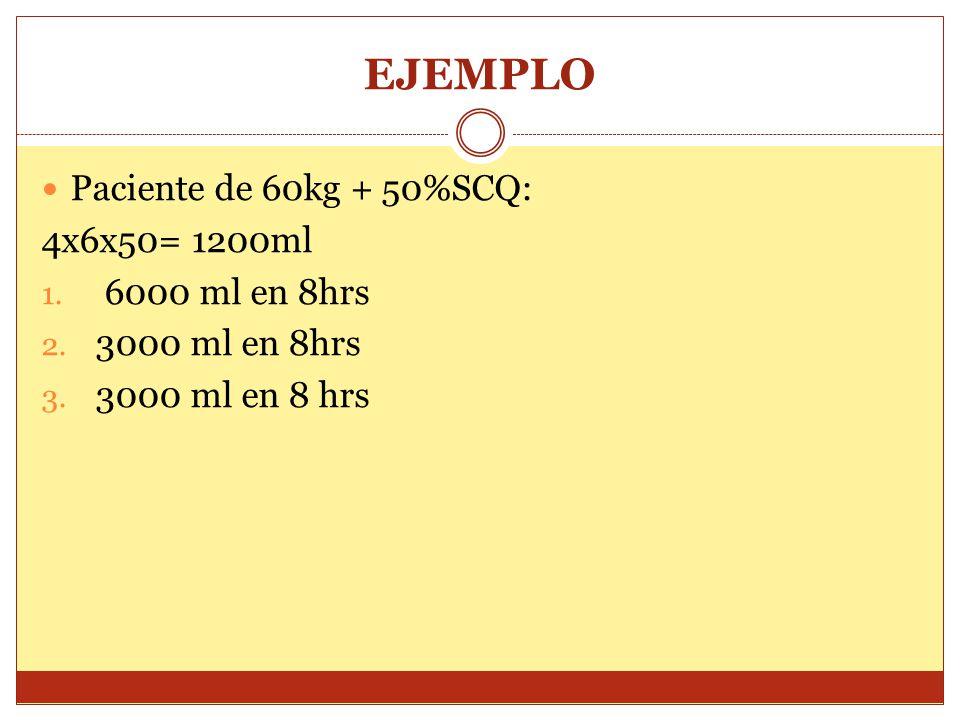 EJEMPLO Paciente de 60kg + 50%SCQ: 4x6x50= 1200ml 1. 6000 ml en 8hrs 2. 3000 ml en 8hrs 3. 3000 ml en 8 hrs