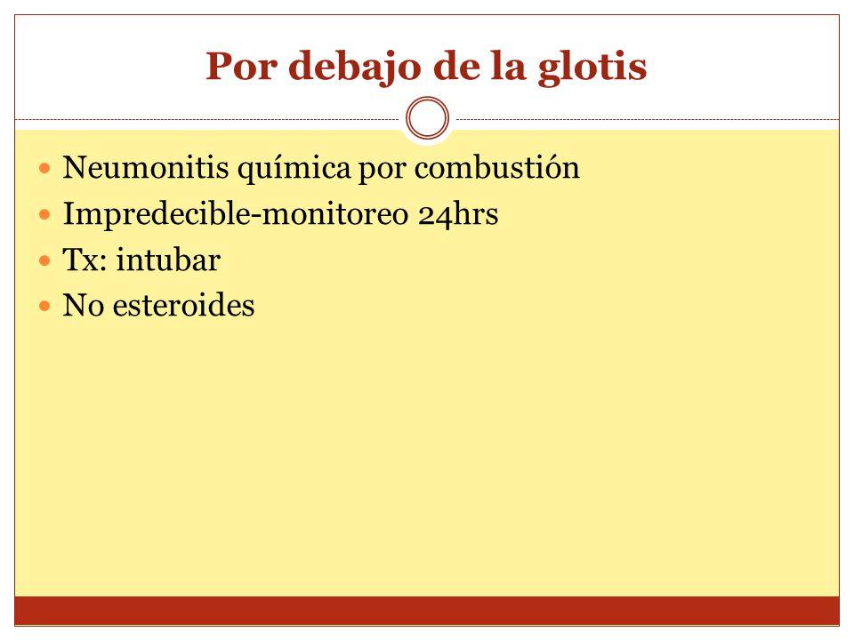 Por debajo de la glotis Neumonitis química por combustión Impredecible-monitoreo 24hrs Tx: intubar No esteroides