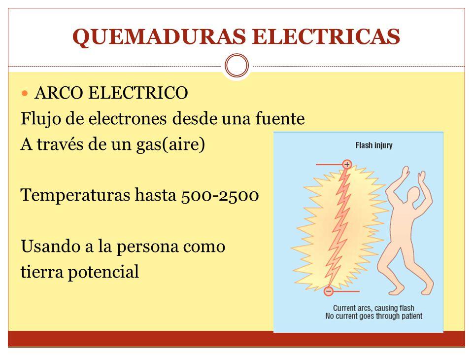 QUEMADURAS ELECTRICAS ARCO ELECTRICO Flujo de electrones desde una fuente A través de un gas(aire) Temperaturas hasta 500-2500 Usando a la persona com
