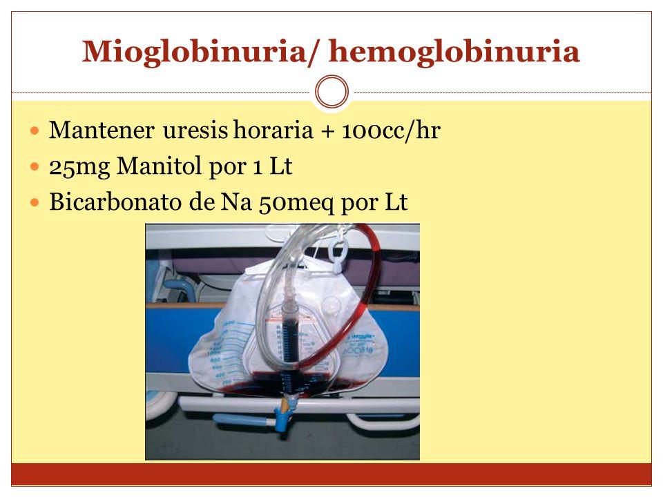 Mioglobinuria/ hemoglobinuria Mantener uresis horaria + 100cc/hr 25mg Manitol por 1 Lt Bicarbonato de Na 50meq por Lt
