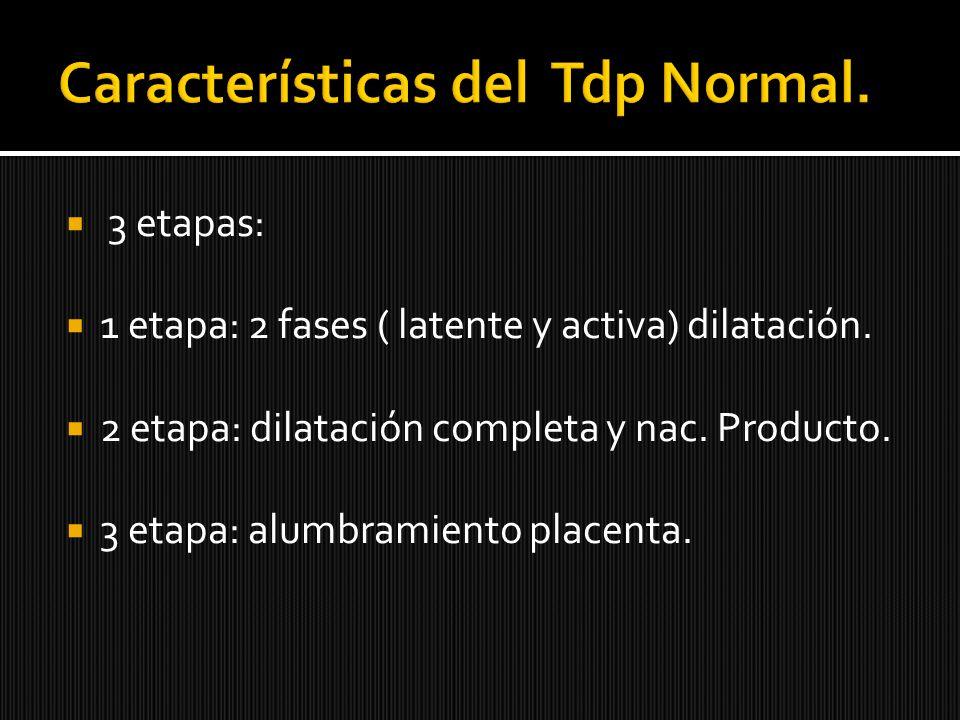 3 etapas: 1 etapa: 2 fases ( latente y activa) dilatación. 2 etapa: dilatación completa y nac. Producto. 3 etapa: alumbramiento placenta.