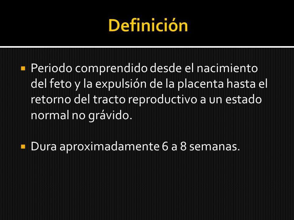 Periodo comprendido desde el nacimiento del feto y la expulsión de la placenta hasta el retorno del tracto reproductivo a un estado normal no grávido.
