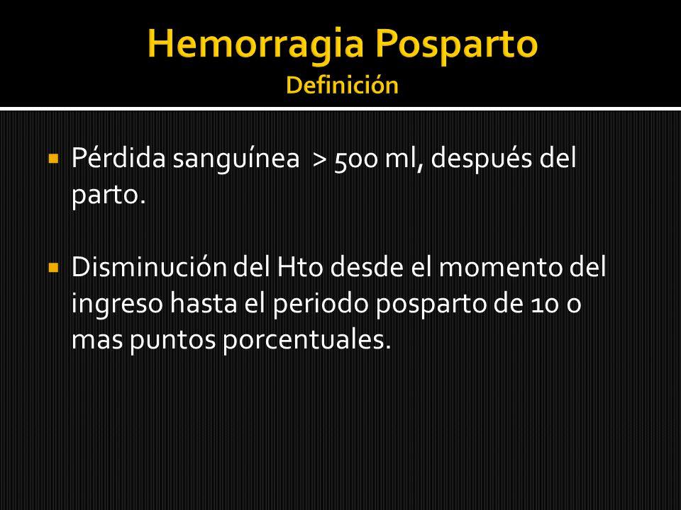 Pérdida sanguínea > 500 ml, después del parto. Disminución del Hto desde el momento del ingreso hasta el periodo posparto de 10 o mas puntos porcentua