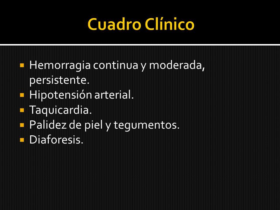 Hemorragia continua y moderada, persistente. Hipotensión arterial. Taquicardia. Palidez de piel y tegumentos. Diaforesis.