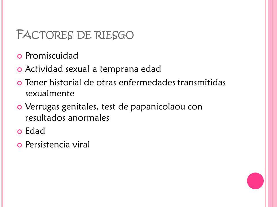 F ACTORES DE RIESGO Promiscuidad Actividad sexual a temprana edad Tener historial de otras enfermedades transmitidas sexualmente Verrugas genitales, test de papanicolaou con resultados anormales Edad Persistencia viral