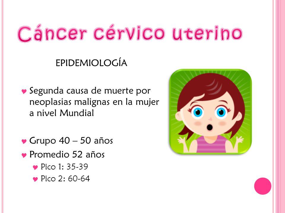 EPIDEMIOLOGÍA Segunda causa de muerte por neoplasias malignas en la mujer a nivel Mundial Grupo 40 – 50 años Promedio 52 años Pico 1: 35-39 Pico 2: 60