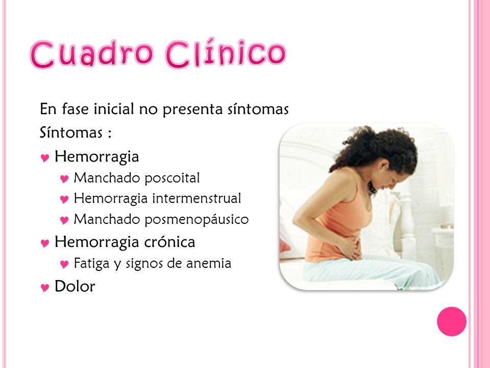 En fase inicial no presenta síntomas Síntomas : Hemorragia Manchado poscoital Hemorragia intermenstrual Manchado posmenopáusico Hemorragia crónica Fatiga y signos de anemia Dolor