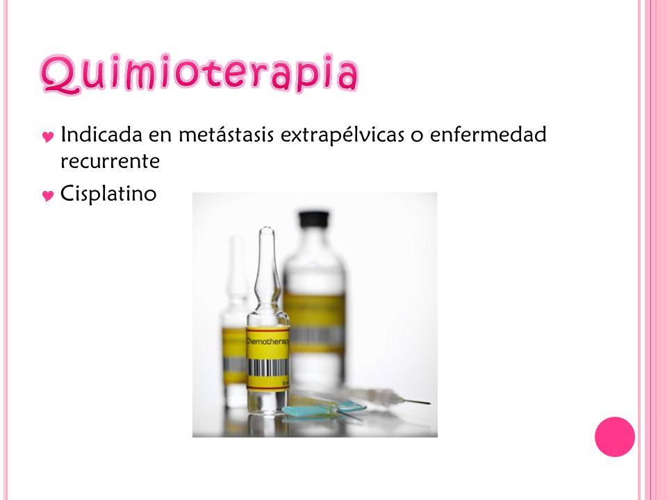 Indicada en metástasis extrapélvicas o enfermedad recurrente Cisplatino