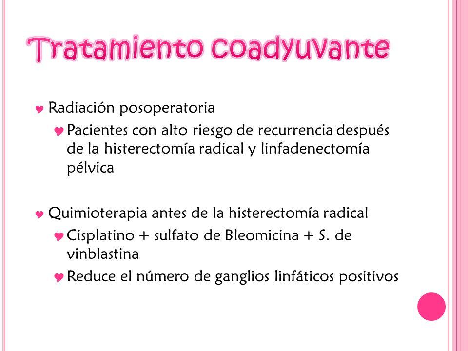 Radiación posoperatoria Pacientes con alto riesgo de recurrencia después de la histerectomía radical y linfadenectomía pélvica Quimioterapia antes de la histerectomía radical Cisplatino + sulfato de Bleomicina + S.