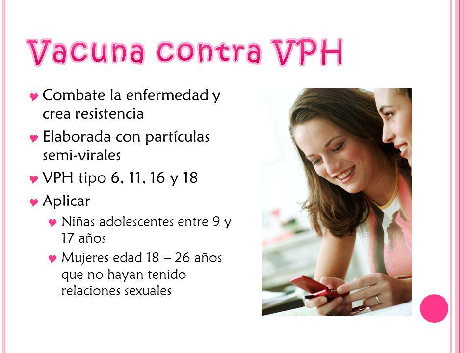 Combate la enfermedad y crea resistencia Elaborada con partículas semi-virales VPH tipo 6, 11, 16 y 18 Aplicar Niñas adolescentes entre 9 y 17 años Mu
