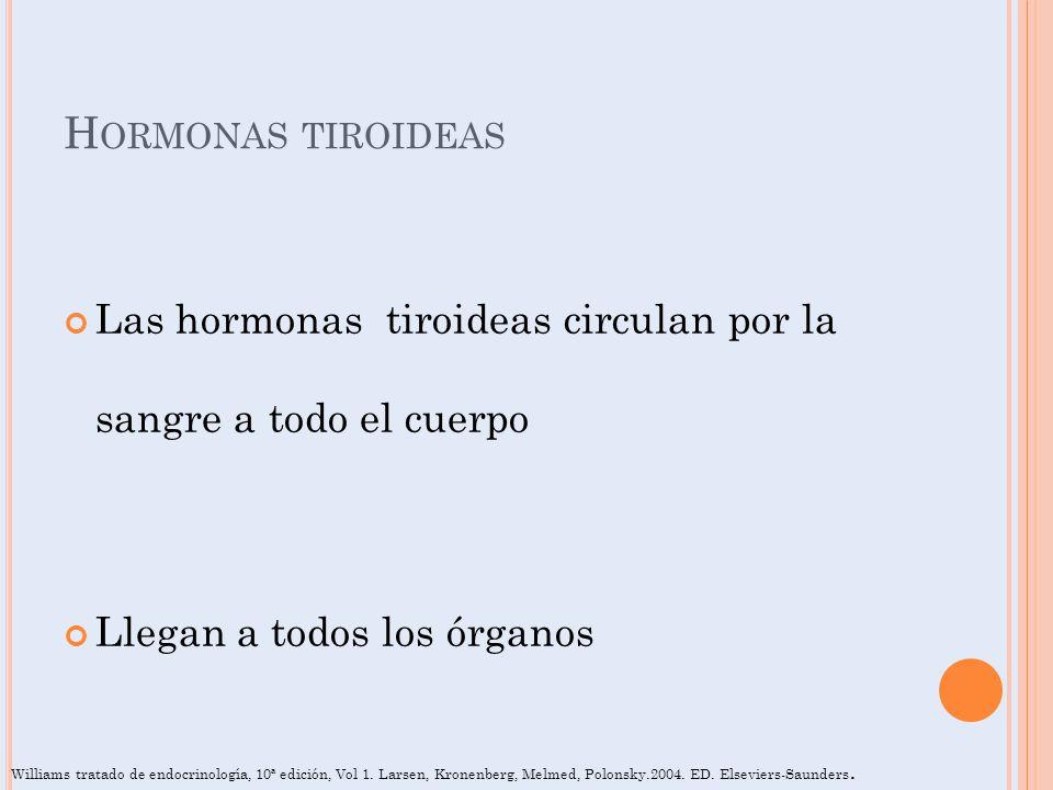H ORMONAS TIROIDEAS Las hormonas tiroideas circulan por la sangre a todo el cuerpo Llegan a todos los órganos Williams tratado de endocrinología, 10ª