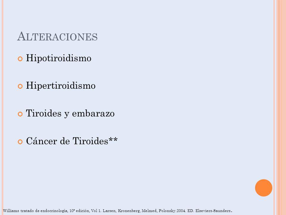 A LTERACIONES Hipotiroidismo Hipertiroidismo Tiroides y embarazo Cáncer de Tiroides** Williams tratado de endocrinología, 10ª edición, Vol 1. Larsen,