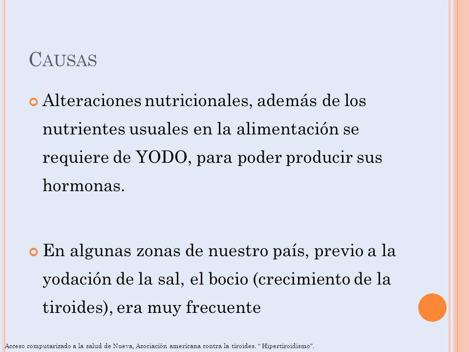 C AUSAS Alteraciones nutricionales, además de los nutrientes usuales en la alimentación se requiere de YODO, para poder producir sus hormonas. En algu