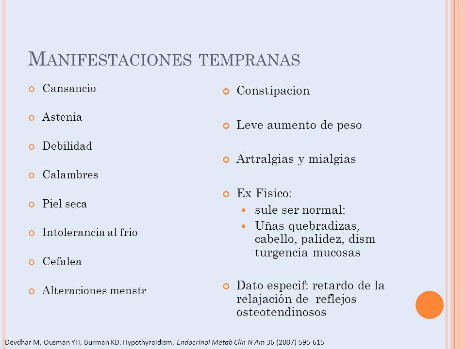 M ANIFESTACIONES TEMPRANAS Cansancio Astenia Debilidad Calambres Piel seca Intolerancia al frio Cefalea Alteraciones menstr Constipacion Leve aumento