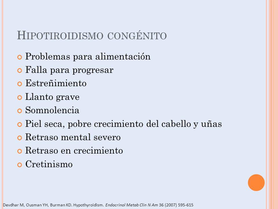 H IPOTIROIDISMO CONGÉNITO Problemas para alimentación Falla para progresar Estreñimiento Llanto grave Somnolencia Piel seca, pobre crecimiento del cab