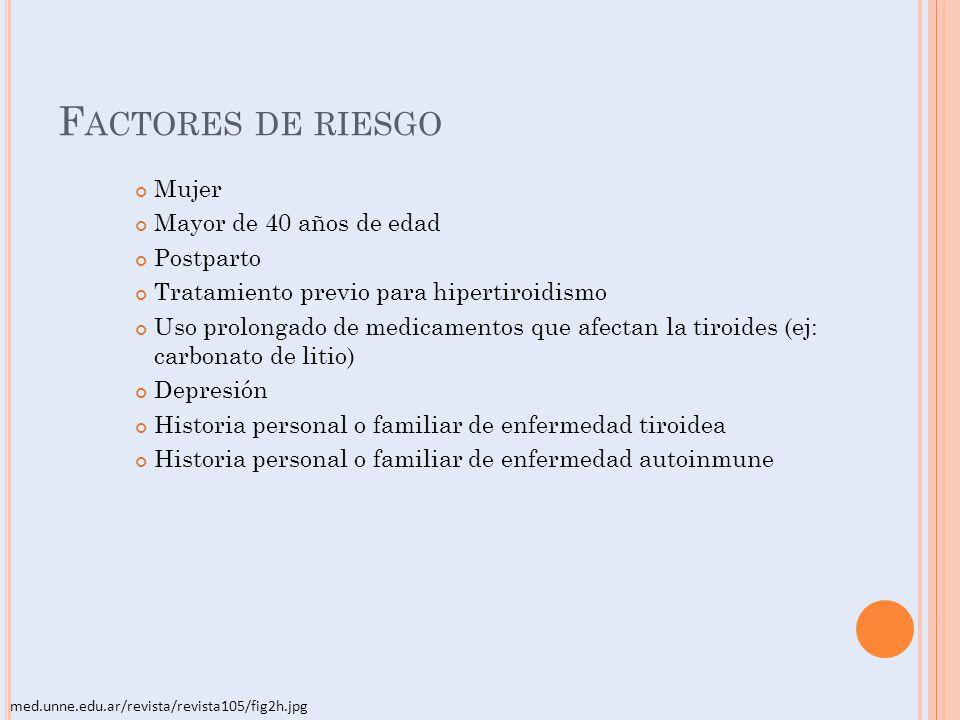 F ACTORES DE RIESGO Mujer Mayor de 40 años de edad Postparto Tratamiento previo para hipertiroidismo Uso prolongado de medicamentos que afectan la tir