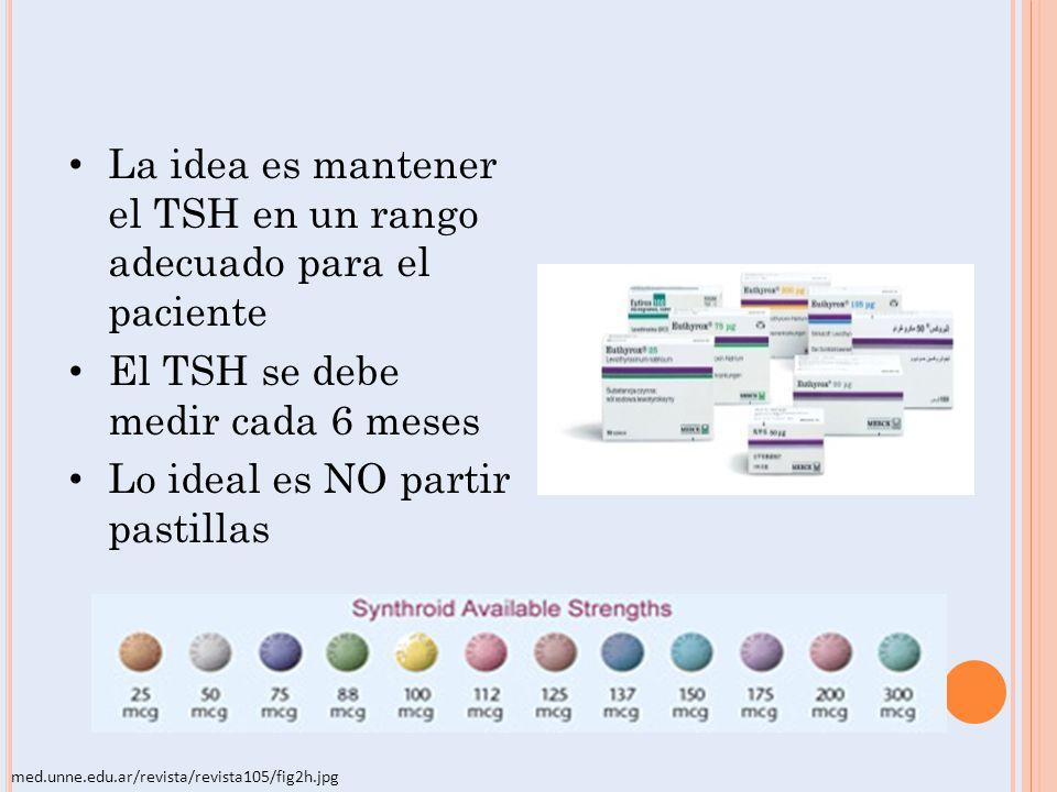 La idea es mantener el TSH en un rango adecuado para el paciente El TSH se debe medir cada 6 meses Lo ideal es NO partir pastillas med.unne.edu.ar/rev