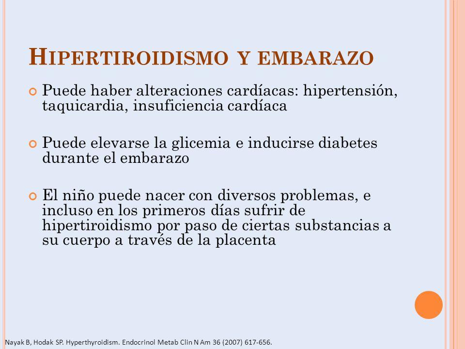 H IPERTIROIDISMO Y EMBARAZO Puede haber alteraciones cardíacas: hipertensión, taquicardia, insuficiencia cardíaca Puede elevarse la glicemia e inducir