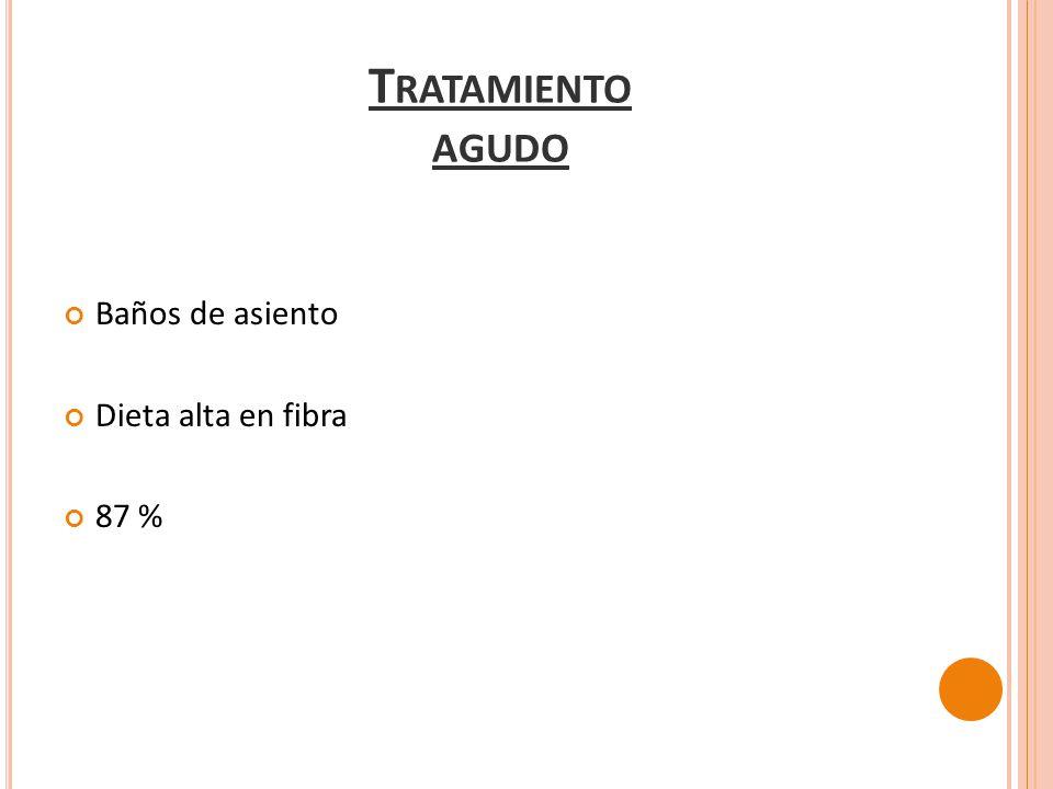 Baños de asiento Dieta alta en fibra 87 % T RATAMIENTO AGUDO