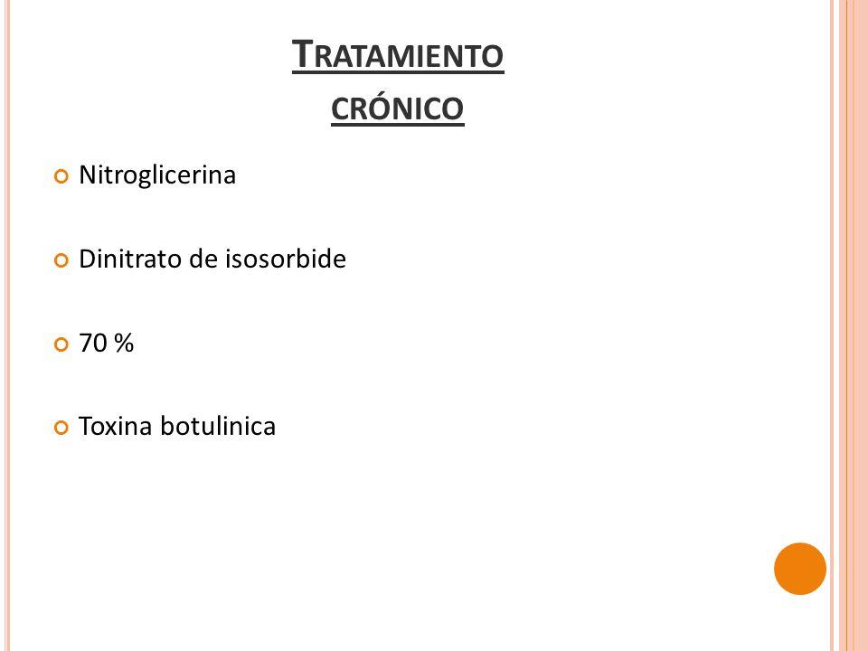 Nitroglicerina Dinitrato de isosorbide 70 % Toxina botulinica T RATAMIENTO CRÓNICO