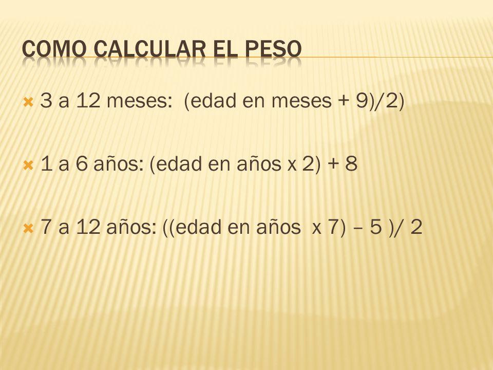 3 a 12 meses: (edad en meses + 9)/2) 1 a 6 años: (edad en años x 2) + 8 7 a 12 años: ((edad en años x 7) – 5 )/ 2