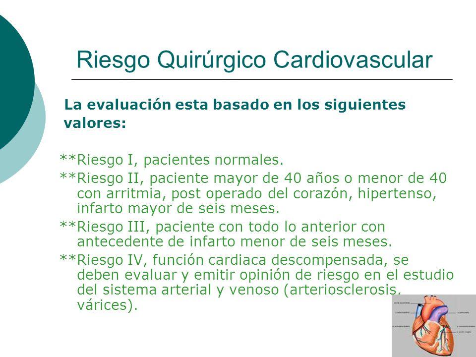 Riesgo Quirúrgico Cardiovascular La evaluación esta basado en los siguientes valores: **Riesgo I, pacientes normales. **Riesgo II, paciente mayor de 4