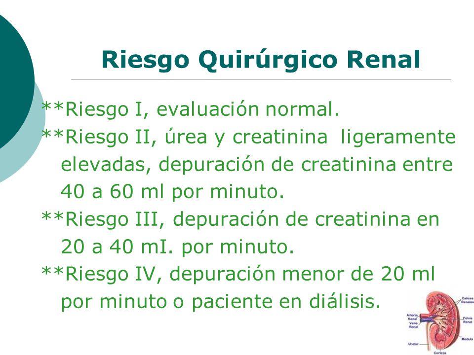 Riesgo Quirúrgico Renal **Riesgo I, evaluación normal. **Riesgo II, úrea y creatinina ligeramente elevadas, depuración de creatinina entre 40 a 60 ml