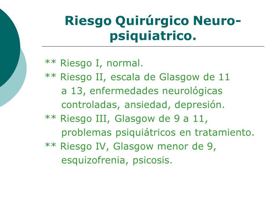Riesgo Quirúrgico Neuro- psiquiatrico. ** Riesgo I, normal. ** Riesgo II, escala de Glasgow de 11 a 13, enfermedades neurológicas controladas, ansieda