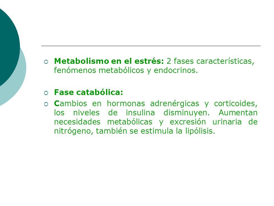 Metabolismo en el estrés: 2 fases características, fenómenos metabólicos y endocrinos. Fase catabólica: Cambios en hormonas adrenérgicas y corticoides