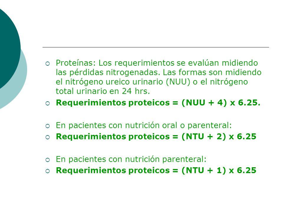 Proteínas: Los requerimientos se evalúan midiendo las pérdidas nitrogenadas. Las formas son midiendo el nitrógeno ureico urinario (NUU) o el nitrógeno
