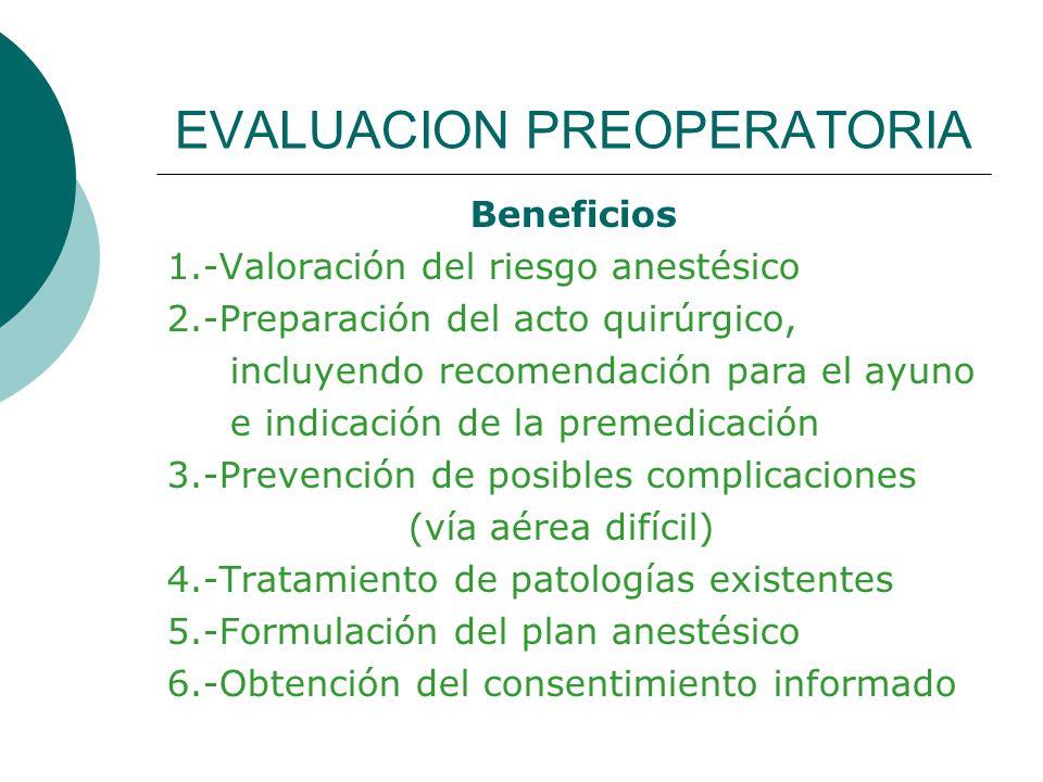EVALUACION PREOPERATORIA Beneficios 1.-Valoración del riesgo anestésico 2.-Preparación del acto quirúrgico, incluyendo recomendación para el ayuno e i