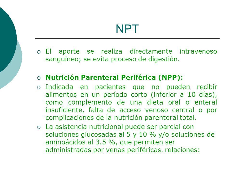 NPT El aporte se realiza directamente intravenoso sanguíneo; se evita proceso de digestión. Nutrición Parenteral Periférica (NPP): Indicada en pacient