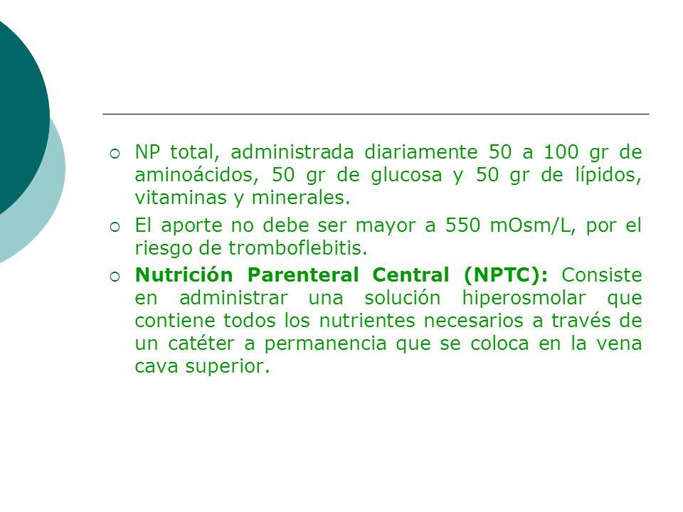 NP total, administrada diariamente 50 a 100 gr de aminoácidos, 50 gr de glucosa y 50 gr de lípidos, vitaminas y minerales. El aporte no debe ser mayor