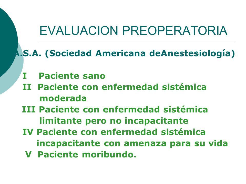 EVALUACION PREOPERATORIA A.S.A. (Sociedad Americana deAnestesiología) I Paciente sano II Paciente con enfermedad sistémica moderada III Paciente con e