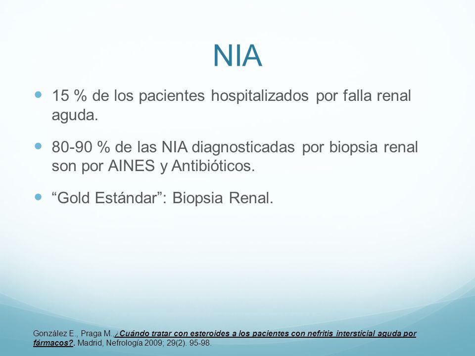 NIA 15 % de los pacientes hospitalizados por falla renal aguda. 80-90 % de las NIA diagnosticadas por biopsia renal son por AINES y Antibióticos. Gold