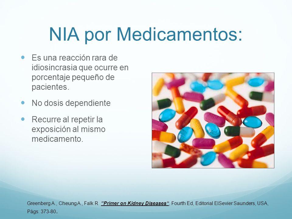 NIA por Medicamentos: Es una reacción rara de idiosincrasia que ocurre en porcentaje pequeño de pacientes. No dosis dependiente Recurre al repetir la