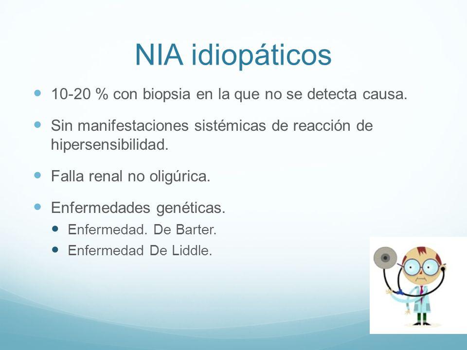 NIA idiopáticos 10-20 % con biopsia en la que no se detecta causa. Sin manifestaciones sistémicas de reacción de hipersensibilidad. Falla renal no oli