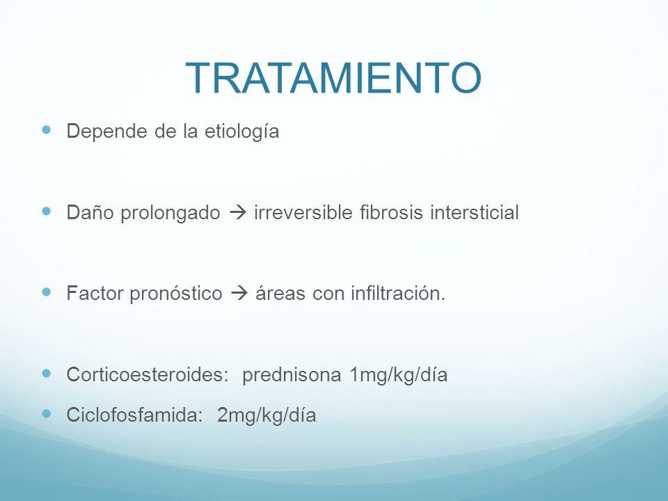TRATAMIENTO Depende de la etiología Daño prolongado irreversible fibrosis intersticial Factor pronóstico áreas con infiltración. Corticoesteroides: pr