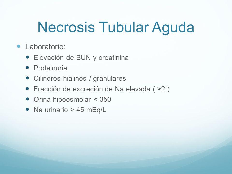 Necrosis Tubular Aguda Laboratorio: Elevación de BUN y creatinina Proteinuria Cilindros hialinos / granulares Fracción de excreción de Na elevada ( >2 ) Orina hipoosmolar < 350 Na urinario > 45 mEq/L