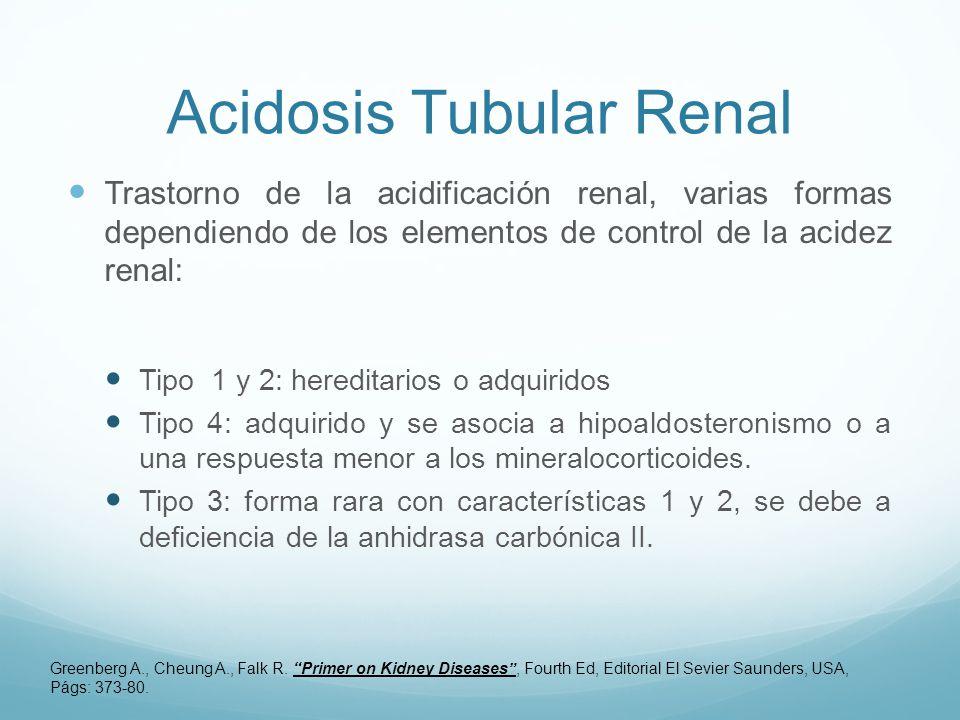 Acidosis Tubular Renal Trastorno de la acidificación renal, varias formas dependiendo de los elementos de control de la acidez renal: Tipo 1 y 2: hereditarios o adquiridos Tipo 4: adquirido y se asocia a hipoaldosteronismo o a una respuesta menor a los mineralocorticoides.