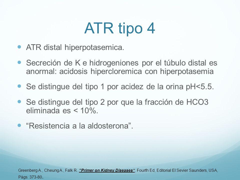 ATR tipo 4 ATR distal hiperpotasemica. Secreción de K e hidrogeniones por el túbulo distal es anormal: acidosis hipercloremica con hiperpotasemia Se d
