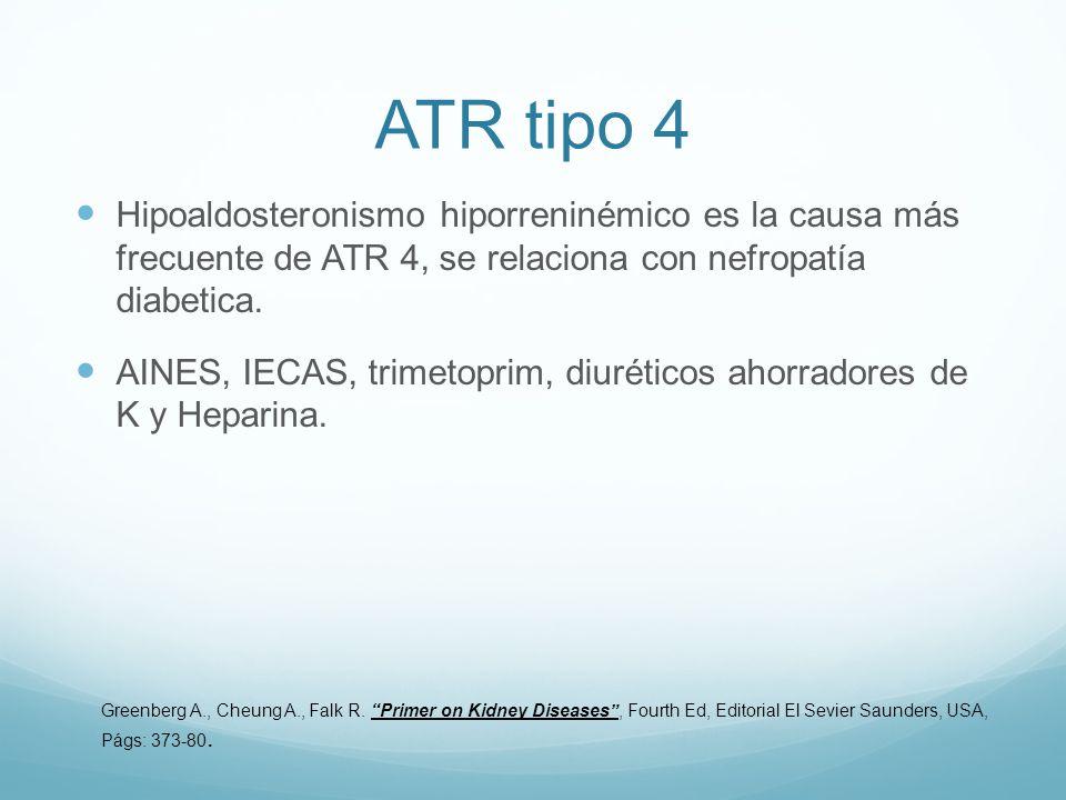 ATR tipo 4 Hipoaldosteronismo hiporreninémico es la causa más frecuente de ATR 4, se relaciona con nefropatía diabetica. AINES, IECAS, trimetoprim, di