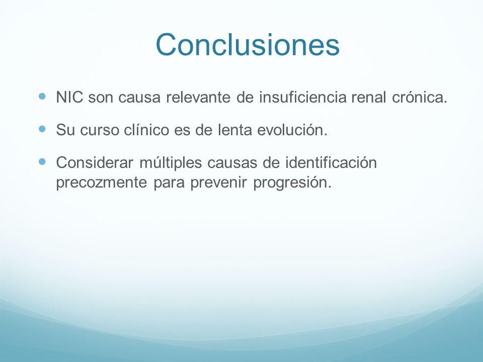 Conclusiones NIC son causa relevante de insuficiencia renal crónica. Su curso clínico es de lenta evolución. Considerar múltiples causas de identifica