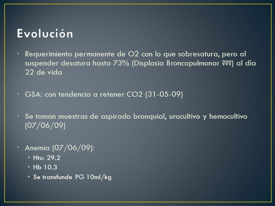 Requerimiento permanente de O2 con lo que sobresatura, pero al suspender desatura hasta 73% (Displasia Broncopulmonar ???) al día 22 de vida GSA: con tendencia a retener CO2 (31-05-09) Se toman muestras de aspirado bronquial, urocultivo y hemocultivo (07/06/09) Anemia (07/06/09): Hto: 29.2 Hb 10.3 Se transfunde PG 10ml/kg