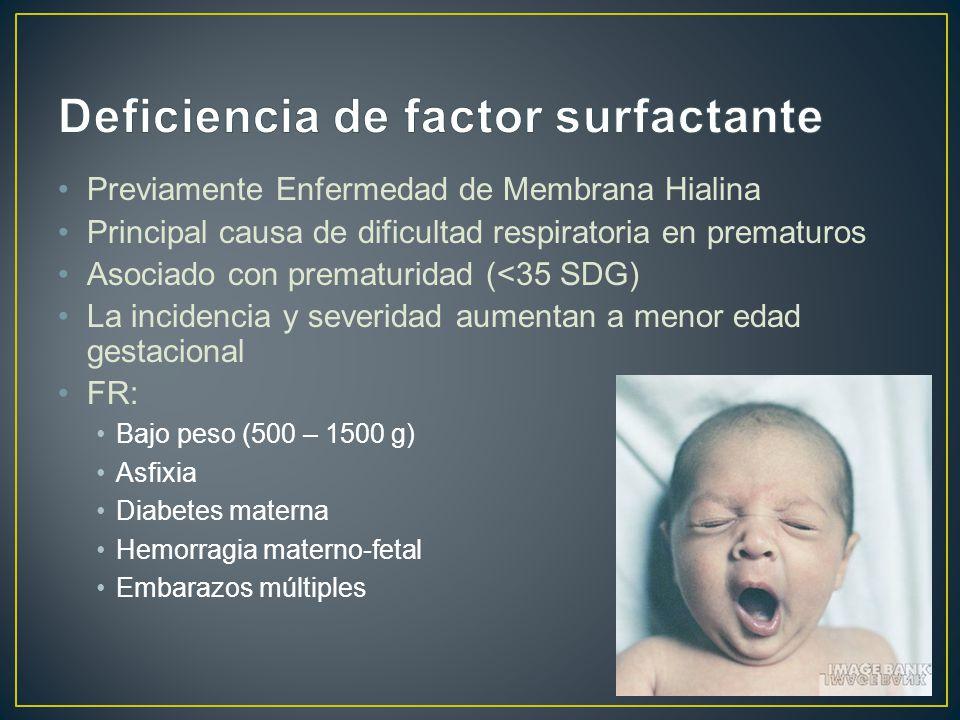 Previamente Enfermedad de Membrana Hialina Principal causa de dificultad respiratoria en prematuros Asociado con prematuridad (<35 SDG) La incidencia y severidad aumentan a menor edad gestacional FR: Bajo peso (500 – 1500 g) Asfixia Diabetes materna Hemorragia materno-fetal Embarazos múltiples