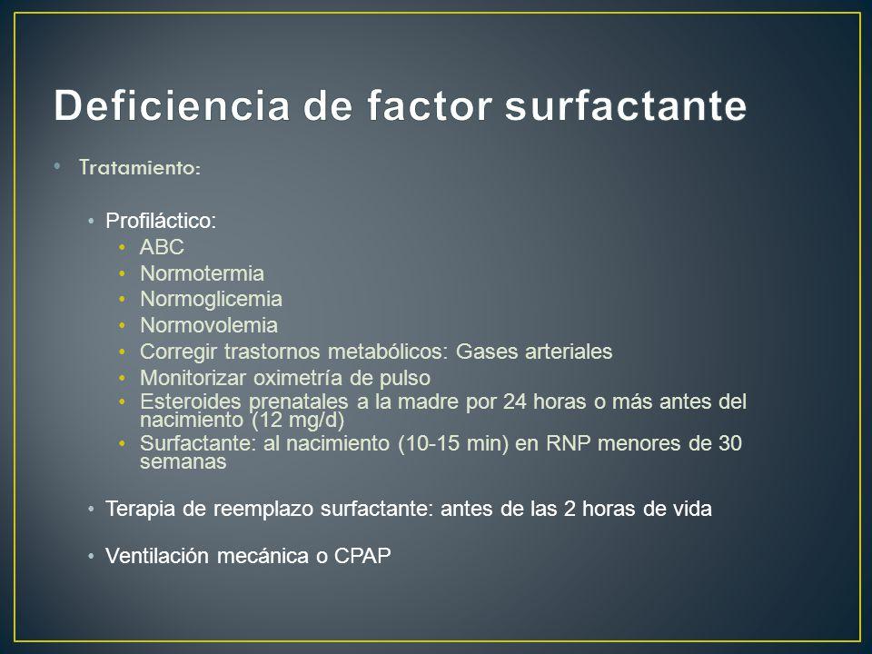 Tratamiento: Profiláctico: ABC Normotermia Normoglicemia Normovolemia Corregir trastornos metabólicos: Gases arteriales Monitorizar oximetría de pulso