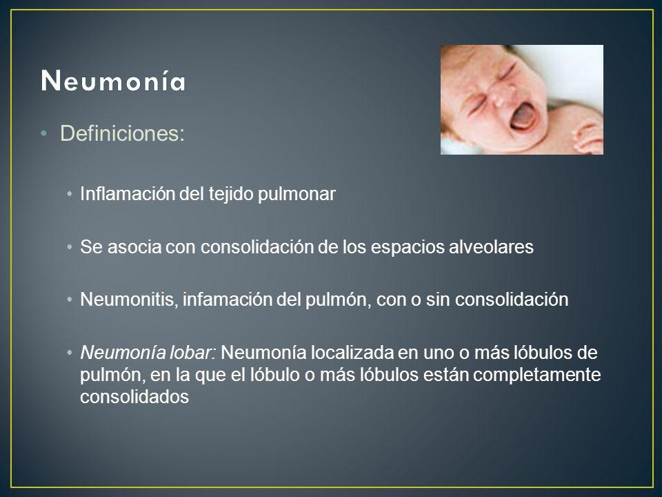 Definiciones: Inflamación del tejido pulmonar Se asocia con consolidación de los espacios alveolares Neumonitis, infamación del pulmón, con o sin consolidación Neumonía lobar: Neumonía localizada en uno o más lóbulos de pulmón, en la que el lóbulo o más lóbulos están completamente consolidados