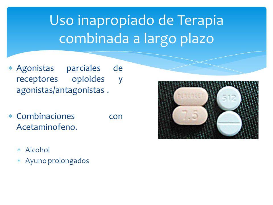 Uso inapropiado de Terapia combinada a largo plazo Agonistas parciales de receptores opioides y agonistas/antagonistas. Combinaciones con Acetaminofen