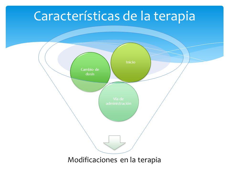 Características de la terapia Modificaciones en la terapia Vía de administración Cambio de dosis Inicio